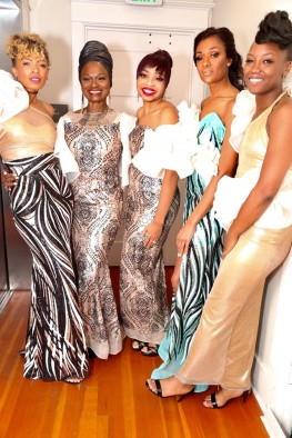 EFW SS20 models (left to right) Osheea, Makeda, Monique, Raven and Crystal wearing EFW SS20 designer AYO BY YINKA. (Photo: Jerry Hoo)
